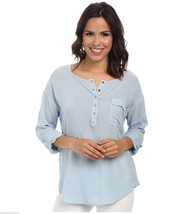 NWT $108 Splendid Rayon Voile Henley Shirt w/ Roll Up Sleeves in Mist Bl... - $20.10