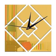 Decoration 3D Geometry Rhombus Mirror Sticking Wall Clock - $21.99