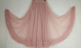Pink Layered Tulle Ruffle Skirt Pink Bridesmaid Tulle Skirt Plus Size image 3