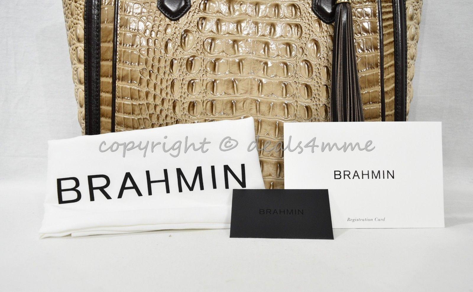 NWT  Brahmin Medium Lena Leather Tote/Shoulder Bag in Travertine Vermeer image 8