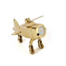 Handmade Passenger Aeroplane Clock Table Decor Gift Brass Paperweight De... - $29.17