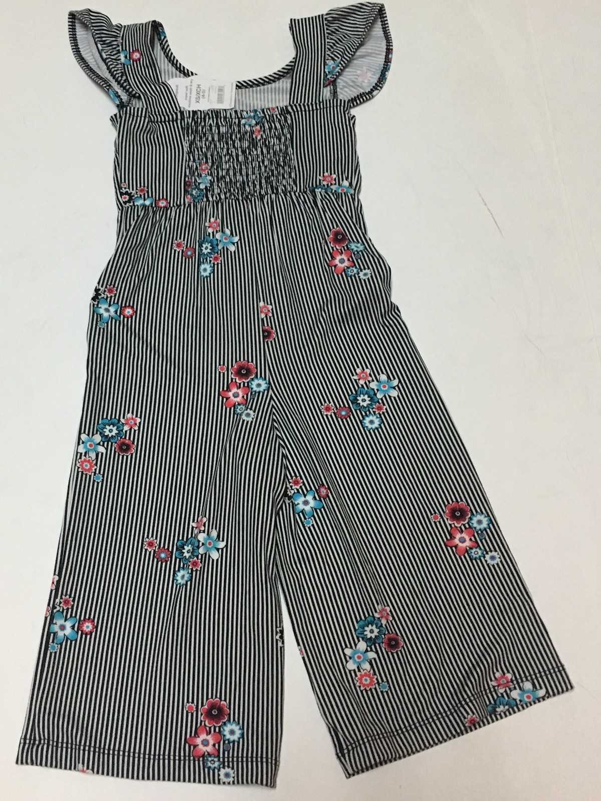 Wonder Nation Girl's Youth Front Tie Jumpsuit Floral & Stripes Multiple Sizes 4+