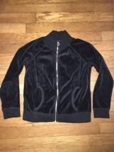 target xhilaration solid black velour  zip up jacket 6x girl - $6.02