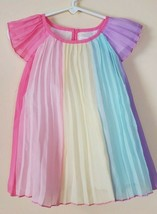 Children's Place Rainbow Baby 9-12 Month Pleated Cap Sleeves Dress W/Blo... - $24.75