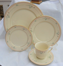 LENOX ROSE MANOR DINNER SALAD BREAD PLATE CUP SAUCER S 8 PLACE SETTING A... - $54.69