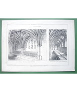 ARCHITECTURE PRINT : England Interior of Norwich & Gloucester Cathedrals - $11.14