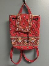 VERA BRADLEY Red Multi Floral Quilted Drawstring Top Flap Medium Backpac... - $40.59