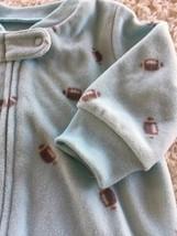 Carters Boys Aqua Blue Gray Football Long Sleeve Fleece Pajamas Zip 3 Months - $5.00