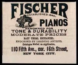 Fischer Grand Piano Renowned for Tone & Durability Catalogue Pianos NY 1... - $14.99