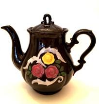 Antique Teapot Occupied Japan Raised Floral Design Brown Glazed Tea Pot - $39.59