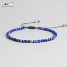 AMIU 3mm Natural Lapis Stone Beads Tibetan Stone Beads Stretch Bracelet For Men  - $15.45