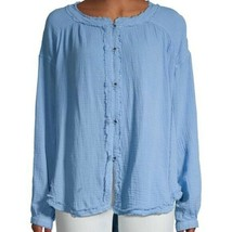 FREE PEOPLE MOVING MOUNTAINS BUTTON DOWN BLOUSE TOP NWT$98 M - $43.54