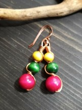 UNIQUE PINK/GREEN AND YELLOW WOOD STACKED BEADS/COPPER WIRE WRAP EARRINGS - $8.99