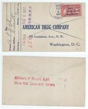 1927 Bassett Iowa to Washington DC American Drug Company Cover! Scott #627 - $5.99