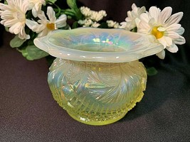 Rare FENTON Yellow Vaseline Carnival GLASS Spittoon  - $69.99