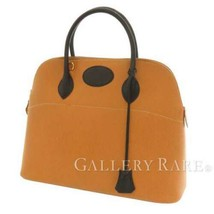 HERMES Bolide 35 Ardennes Gold Black Handbag #Z Shoulder Bag 2Way Authentic - $3,160.25