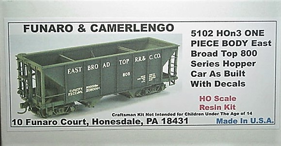 Funaro & Camerlengo HOn3 East Broad Top 800 Series Hopper Kit 5102