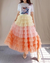 Yellow Pink Layered Tulle Skirt Tiered Tulle Party Outfit Plus Size Party Skirt  image 6