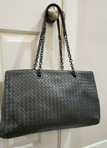 100% Authentic Bottega Veneta Large Double Chain Tote in Medium Grey Lea... - $1,244.97
