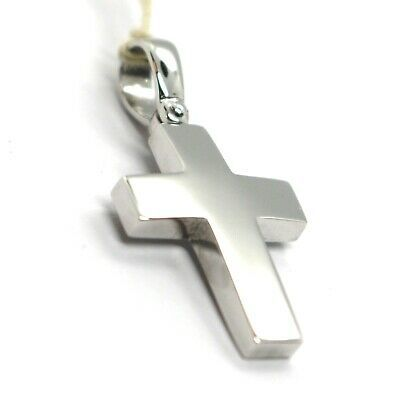 SOLID 18K WHITE GOLD SQUARE CROSS, 0.9 INCHES, ITALY MADE, SMOOTH