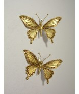 Lot of 2 Butterfly Clip On Christmas Ornament Gold Beads Sparkly Glitter - $6.99