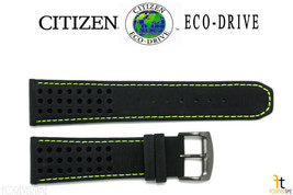 Citizen Eco-Drive B612-S084059 23mm Black Leather Watch Band w/ Green Stitching  - $89.95