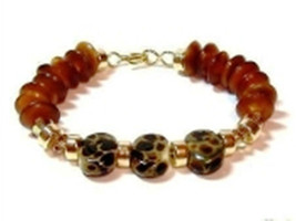 JUNGLE BORO BEADS, CRYSTAL, HORN & GOLD FILLED V.L. DESIGNS BRACELET B53 - $29.70