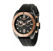 ZODIAC ZO5510 Men Round Chrono Watch Steel Case Black Silicone Strap Bla... - $595.45