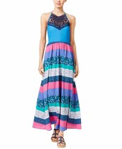 2407 Tommy Hilfiger Women's Blue Printed Crochet-detail Maxi Dress Sz XL... - $21.29