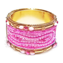 Nagrasanti Gold/Pink Beaded Hinged Cuff Bracelet - $49.00