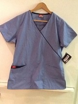 DICKIE'S Ciel Navy Trim Faux Wrap V-Neck Pullover Scrub Top S Small - $17.95