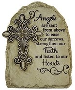 7.5 Inch Tall Memorial Cross Polystone Garden Stone (Angels) - $19.75