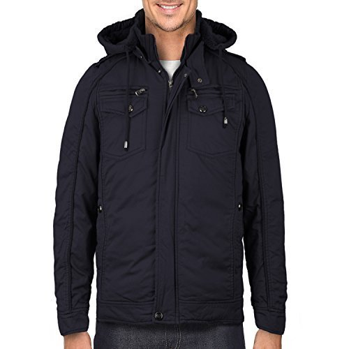Maximos Men's Hooded Multi Pocket Sherpa Lined Sahara Bomber Jacket (3XL, Navy)