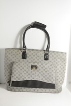 "Liz Claiborne Handbag Shoulder Bag Size 20"" W x 13"" H x 6"" D Gray Logo Patten - $22.99"