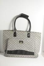 "Liz Claiborne Handbag Shoulder Bag Size 20"" W x 13"" H x 6"" D Gray Logo P... - $22.99"