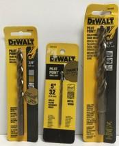 """(New) Dewalt Pilot Point Drill Bits Set 1/2"""", 5/32"""", 3/8"""" - $19.79"""