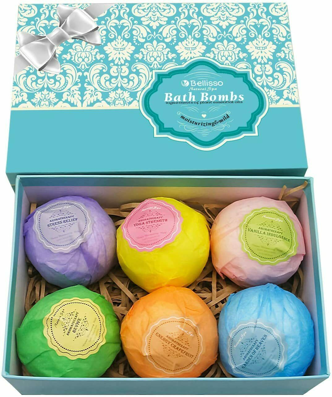 Bath Bombs Ultra Lux Gift Set - 6 XXL Fizzies with Natural Dead Sea Salt Coco... - $20.78