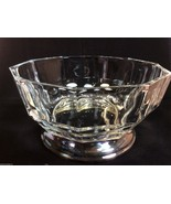 VTG Clear Glass Panel Pattern Silver Plate footed Base Marked Italy made... - $27.72