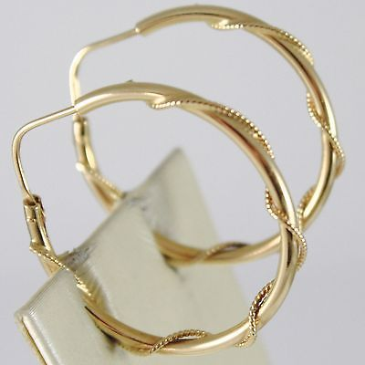 YELLOW GOLD EARRINGS 750 18K CIRCLE, 3 CM DIAMETER, TWISTED, DOUBLE TUBE