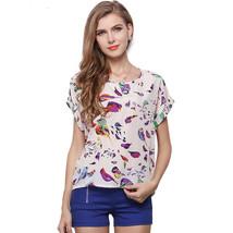 Retro No Button Blouse with Birds Short Sleeve Australia Size 8 10 12 14... - $12.99