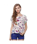 Retro No Button Blouse with Birds Short Sleeve Australia Size 8 10 12 14... - $9.48