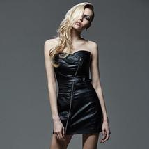New Women Genuine 100% Lamb Skin Leather Designer party wear Ladies Dress-05