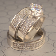 His Her Wedding Diamond Trio Ring Set 14k White Gold Finish 925 Sterling Silver - $152.99
