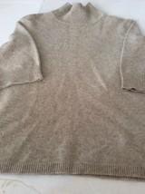 Ann Taylor Sand Color Medium Turtleneck Short Sleeve Cashmere Sweater - $23.36