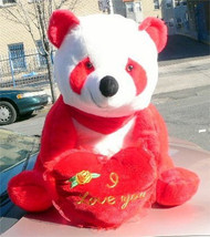 American Made Giant Stuffed Red Panda Bear 32 Inch Soft with I Love You Heart - $127.11