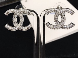 AUTHENTIC CHANEL CRYSTAL LARGE CC LOGO RHINESTONE EARRINGS SILVER image 8
