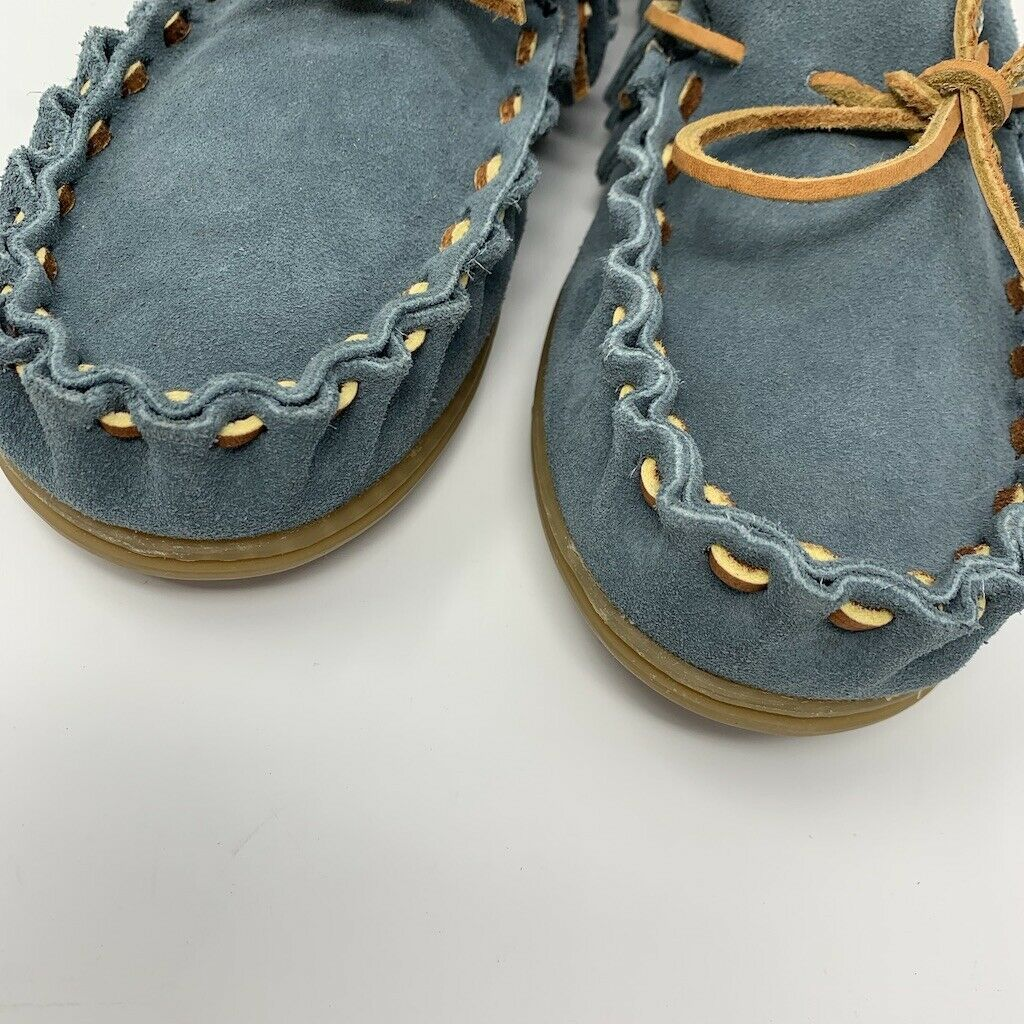 Womens Minnetonka Womens  Leather Moccasins, Size10, Blue Gray, Leather Laces