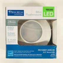 "Progress Lighting Mini Flushmount White 5.5"" Round LED Light #805305 660... - $29.69"