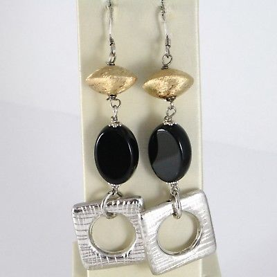 925 STERLING SILVER PENDANT EARRINGS WITH OVAL BLACK ONYX, WORKED SQUARE, SATIN