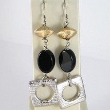 925 STERLING SILVER PENDANT EARRINGS WITH OVAL BLACK ONYX, WORKED SQUARE, SATIN image 1